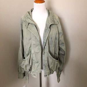 Free people distressed army cargo jacket